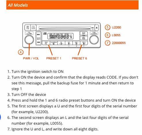 Acura Radio Security Code