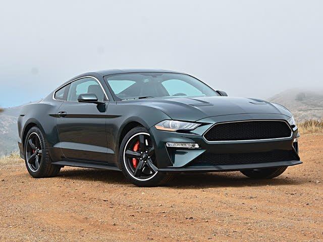 2020 Ford Mustang Bullitt Dark Highland Green Front Quarter View Sky